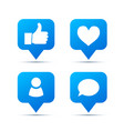 set bright blue trendy icons for social network vector image