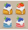 set of dessert with berries vector image
