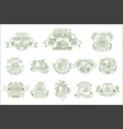 set of linear labels for natural farm vector image vector image