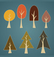 set of seven tree elements vector image