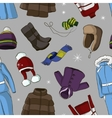 Set of warm winter clothes design pattern vector image