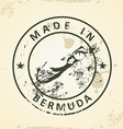Stamp with map of Bermuda vector image vector image