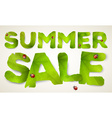 summer sale words made from green leaves vector image vector image
