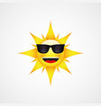 sun face with sunglasses and happy smile vector image vector image