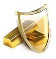 two gold bars and glass shield on white background vector image vector image