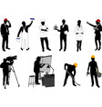 various occupations silhouettes collection vector image vector image