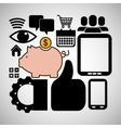 wearable technology collection piggy devices icons vector image