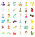 worker icons set cartoon style vector image vector image