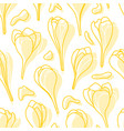 yellow spring crocus flowers seamless vector image vector image