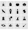 black halloween icon set vector image
