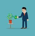 businessman watering money tree vector image