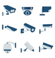 CCTV security video camera flat icons set vector image