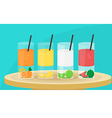 glasses of fresh tropical juice vector image