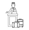 bellboy with luggage black and white vector image
