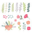 big set of green leaves twigs and flowers design vector image