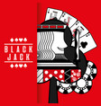 black jack casino poker cards king chip red vector image vector image