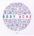 body aches concept in circle with thin line icons vector image vector image
