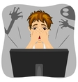 boy covering his face while watching horror movie vector image vector image