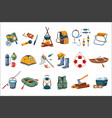 camping icon set tourist equipment items for vector image
