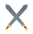 cartoon metal crossed swords vector image vector image