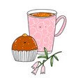 chocolate cupcake and coffee mug characters vector image