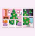 christmas tree home balls plant window cushion vector image vector image