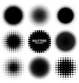 circle halftone design elements with black dots vector image