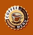 coffee logo or label menu design for cafe vector image