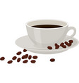 coffee with coffee beans in a white cup on white vector image vector image