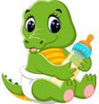cute baby crocodile cartoon vector image vector image