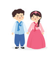 cute korea hanbok couple cartoon vector image