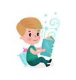 cute little boy sitting on the floor and reading vector image vector image