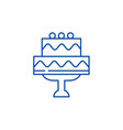 Cute wedding cake line icon concept cute wedding