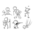 Doodle designs of sporty people vector image vector image