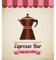 Espresso bar vinatge poster with makineta vector image vector image