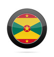 flag of grenada shiny black round button vector image vector image