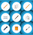flat icon stationery set of letter pencil nib vector image