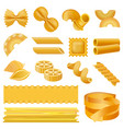 fusilli pasta penne mockup set realistic style vector image