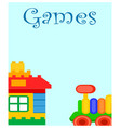 games for children poster with house and train vector image vector image