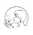 girl with cup coffee vector image