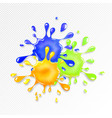 glitter goo splash red yellow and blue slime vector image vector image