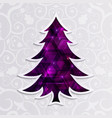 glowing purple christmas tree isolated vector image