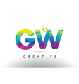gw g w colorful letter origami triangles design vector image vector image