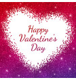 happy valentine day card on red purple sparkles vector image