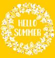 hello summer wreath sunny yellow card vector image vector image