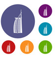 Hotel burj al arab in united arab emirates icons vector image