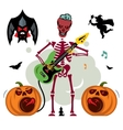 King of Rock Skeleton guitar player vector image