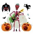 king rock skeleton guitar player vector image