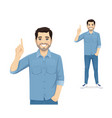 man pointing up vector image vector image