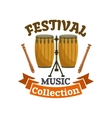 Musical drums Music festival emblem vector image